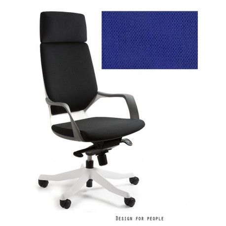 Fotel Apollo biały/ royalblue UNIQUE - ergopoint.com.pl